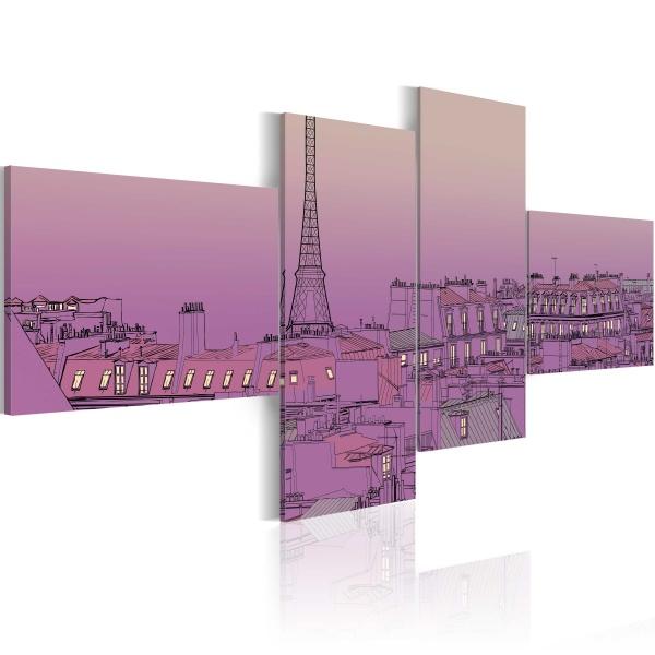 Obraz - Purpurowy Paryż (100x45 cm) A0-N1783