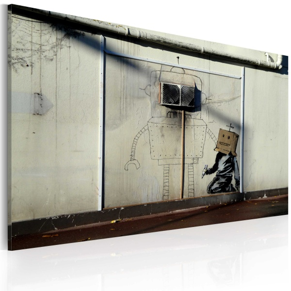 Obraz - Roboty (Banksy) (60x40 cm) A0-N1817