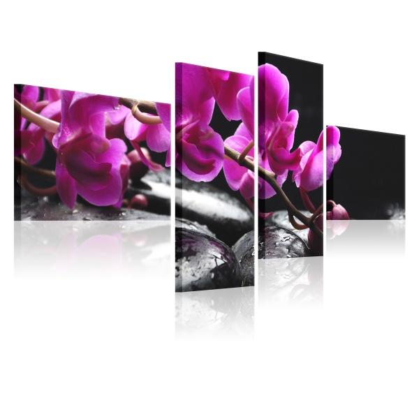 Obraz - Różowa orchidea i kamienie Zen (100x45 cm) A0-N1376