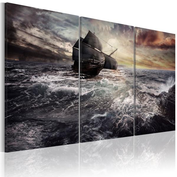 Obraz - Samotny statek na pełnym morzu (60x40 cm) A0-N1761