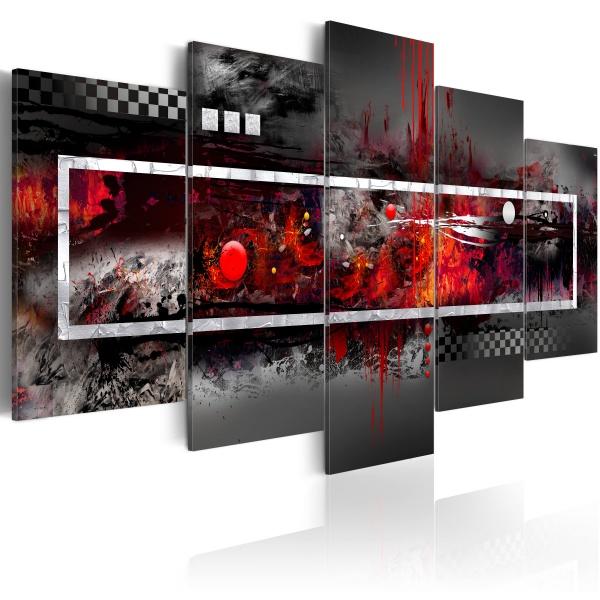 Obraz - Szara wizja z nutą czerwieni (100x45 cm) A0-N1625