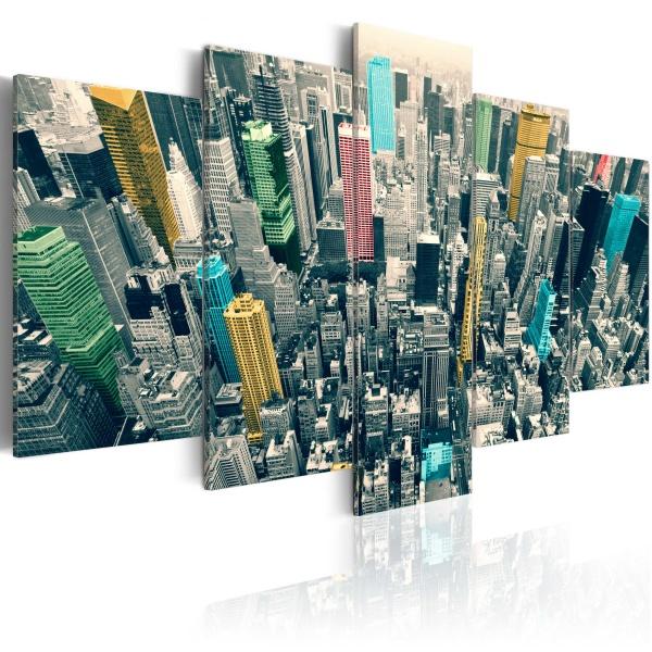 Obraz - Szarość dnia ożywiona - NY (100x50 cm) A0-N1380