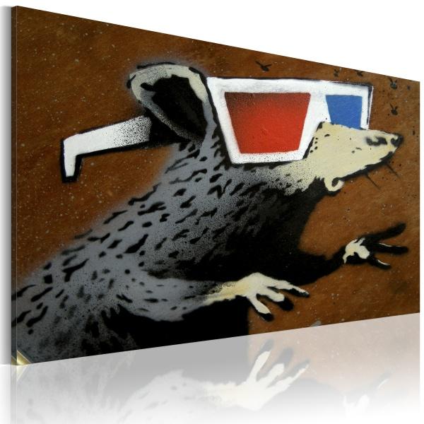 Obraz - Szczur w okularach 3D (Banksy) (60x40 cm) A0-N1815