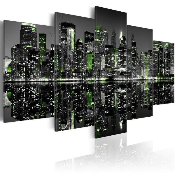 Obraz - Szmaragdowe światełka w wieżowcach Nowego Jorku (100x50 cm) A0-N1756
