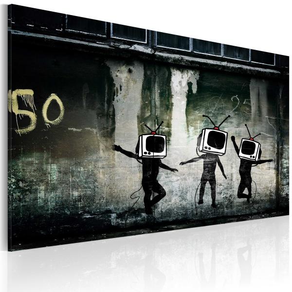 Obraz - Taniec telewizyjnych głów (Banksy) (60x40 cm) A0-N1794