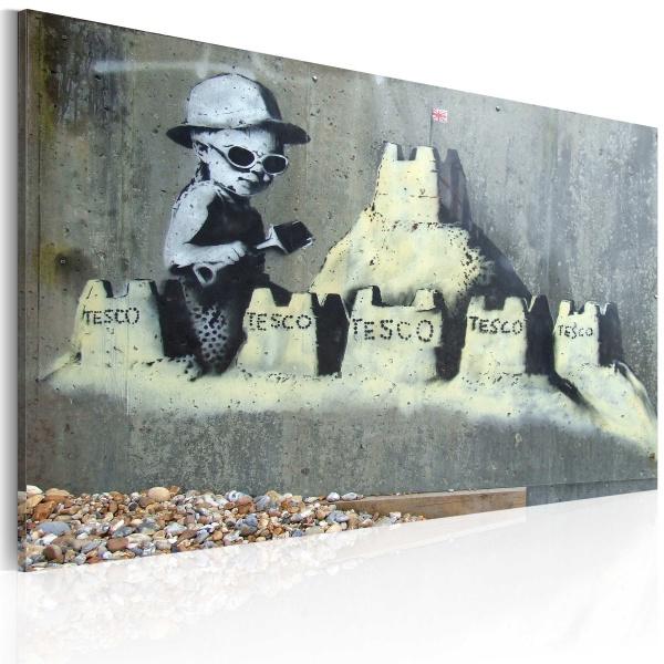 Obraz - Tesco, zamek z piasku (Banksy) (60x40 cm) A0-N1796