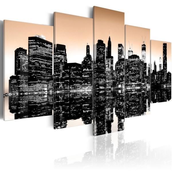 Obraz - Tonący Nowy Jork - 5 części (100x50 cm) A0-N1829