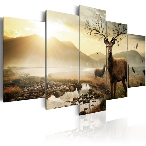 Obraz - Tundra i jelenie (100x50 cm) A0-N1682