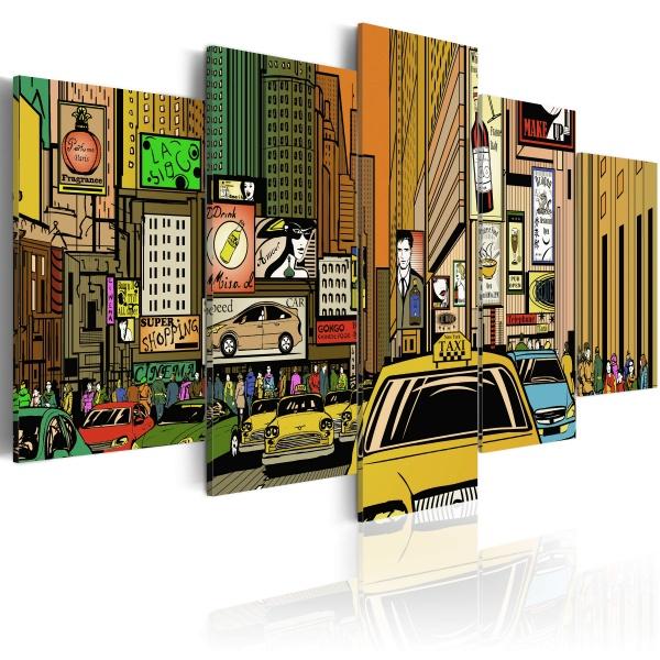 Obraz - Ulice Nowego Jorku w komiksie (100x50 cm) A0-N1636