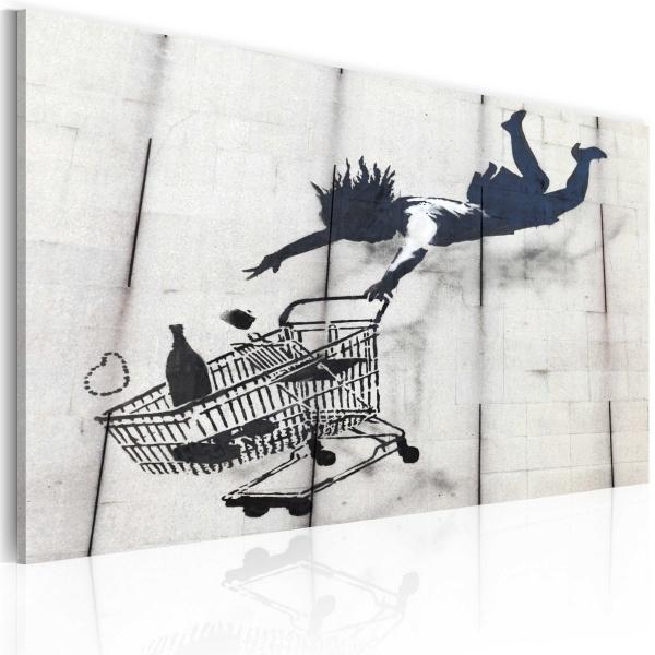 Obraz - Upadająca kobieta z wózkiem na zakupy (Banksy) (60x40 cm) A0-N1803