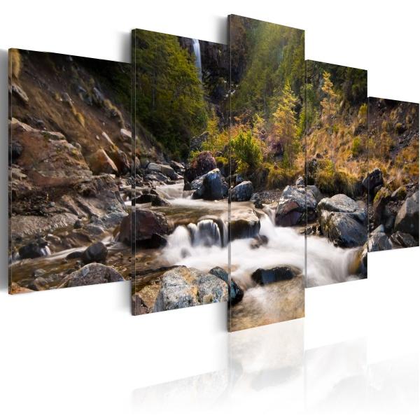 Obraz - Wodospad pośrodku dzikiej natury (100x50 cm) A0-N1465