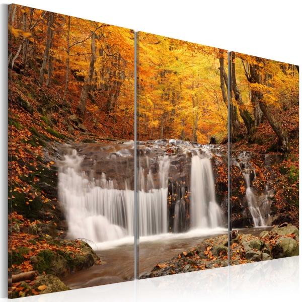 Obraz - Wodospad wśród jesiennych drzew (60x40 cm) A0-N1474