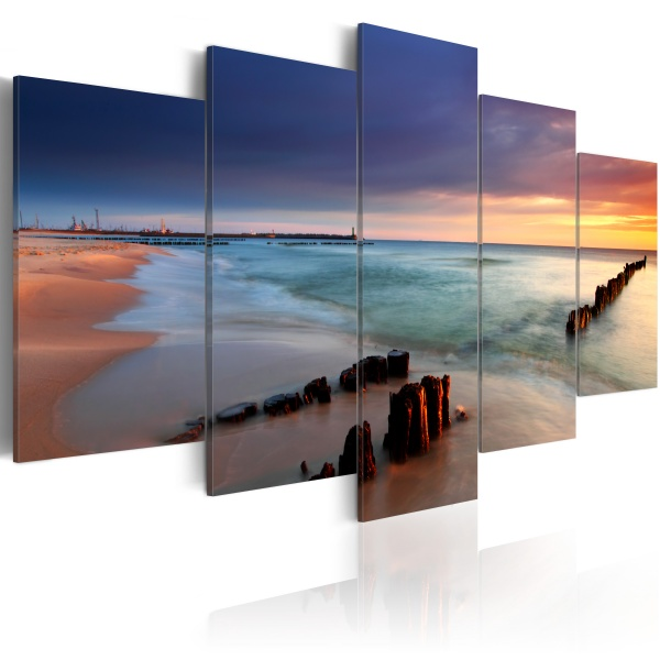 Obraz - Wschód słońca nad brzegiem morza (100x50 cm) A0-N1578