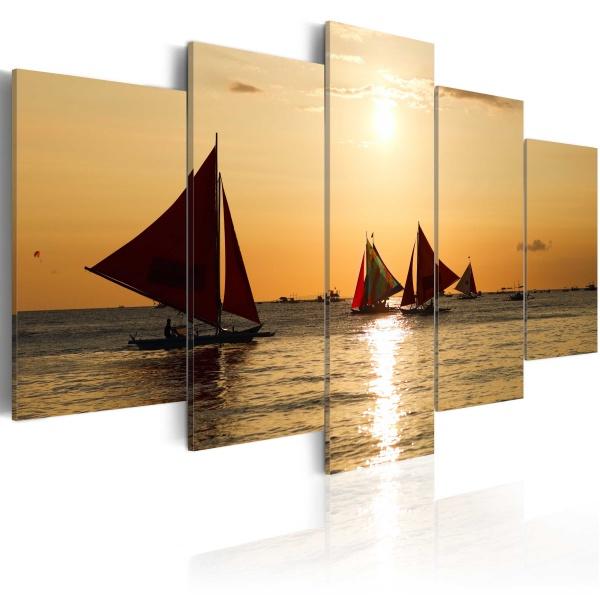 Obraz - Żaglówki o zachodzie słońca (100x50 cm) A0-N1555