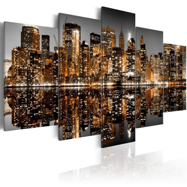 Obraz - Złociste wrażenia z Manhattanu (100x50 cm) A0-N1759
