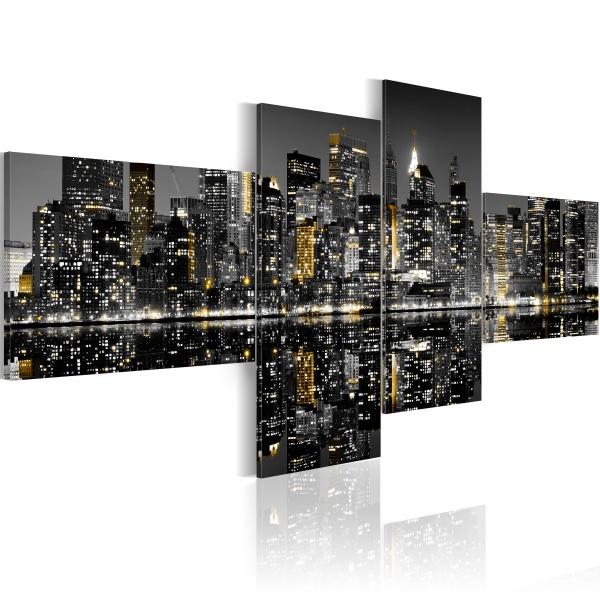 Obraz - Złocisty blask wieżowców (100x45 cm) A0-N1748