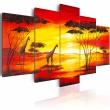 Obraz - Żyrafy na tle zachodzącego słońca A0-N1064