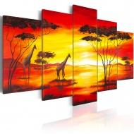 Obraz - Żyrafy na tle zachodzącego słońca (100x50 cm)