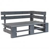Ogrodowa ławka narożna z palet, drewno FSC, szara