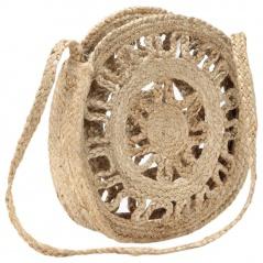 Okrągła torebka, ażurowa, naturalna, ręcznie robiona, jutowa