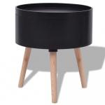 Okrągły stolik z tacą 39,5x44,5 cm czarny