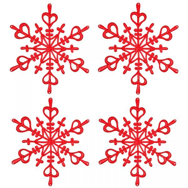 Ozdoba dekoracja świąteczna 4 szt. Koziol FLAKES XS czerwone KZ-1127536