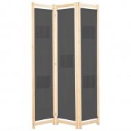 Parawan 3-panelowy, szary, 120x170x4 cm, tkanina