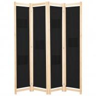 Parawan 4-panelowy, czarny, 160x170x4 cm, tkanina