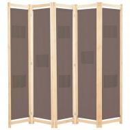 Parawan 5-panelowy, brązowy, 200 x 170 x 4 cm, tkanina