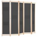 Parawan 5-panelowy, szary, 200 x 170 x 4 cm, tkanina