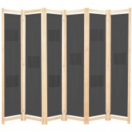 Parawan 6-panelowy, szary, 240 x 170 x 4 cm, tkanina