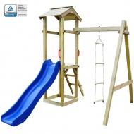 Plac zabaw, zjeżdżalnia i drabinki, drewno FSC, 237x168x218 cm