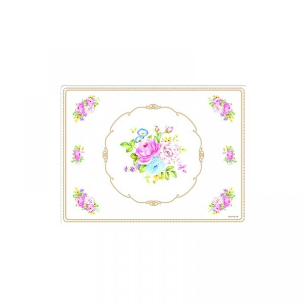 Podkładki korkowe 4 szt. Nuova R2S Vintage Bouquet biała 961 WHIT