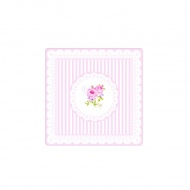 Podkładki korkowe 6 szt. Nuova R2S La Belle Maison różowe piwonie paski