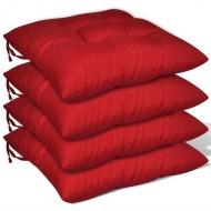Poduszki na krzesła, 4 szt., 40x40x8 cm, czerwone
