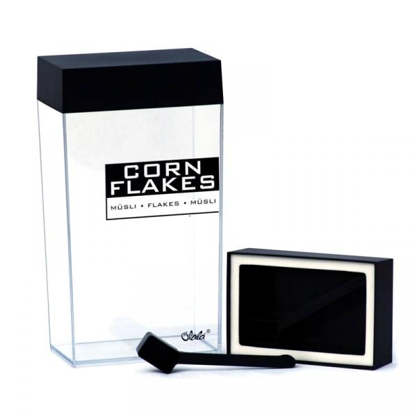 Pojemnik prostokątny 4 l O'LaLa Corn Flakes przezroczysto-czarny OL-122