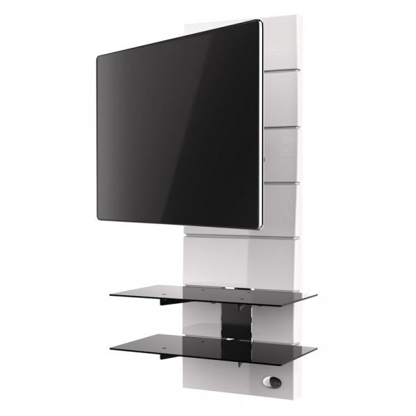 Półka pod TV z maskownicą Ghost Design 3000 z rotacją Meliconi biała 488311BA
