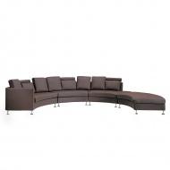 Półokrągła skórzana sofa kanapa brązowa 8 miejsc siedzących Santis