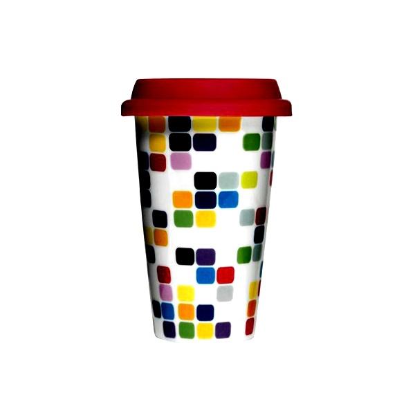 Porcelanowy kubek termiczny z czerwoną pokrywką Sagaform Cafe SF-5015918
