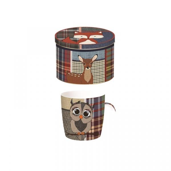 Porcelanowy kubek w blaszanym pudełku Nuova R2S Forest Friends 217 OWLS
