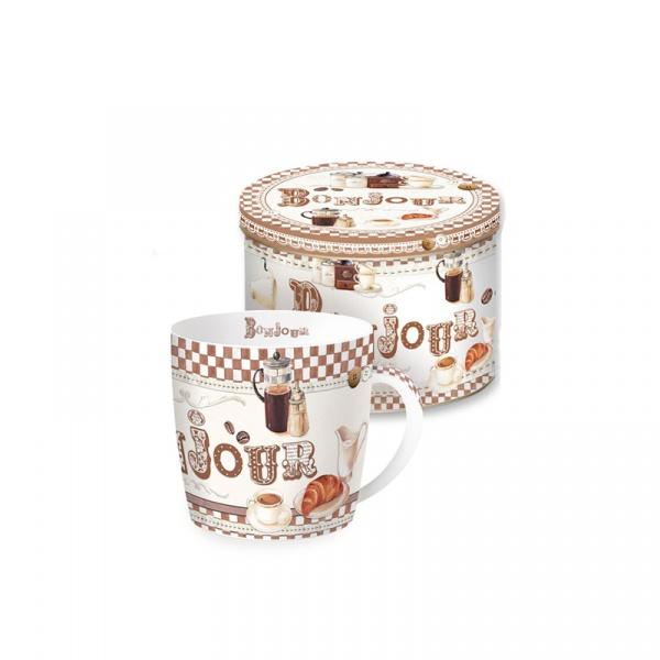 Porcelanowy kubek w blaszanym pudełku Nuova R2S Happy Life 217 BONJ