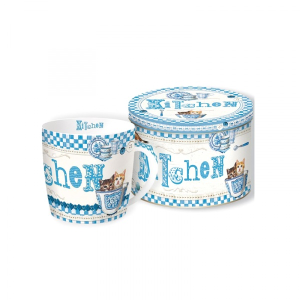 Porcelanowy kubek w blaszanym pudełku Nuova R2S Happy Life Kitchen 217 BLUK