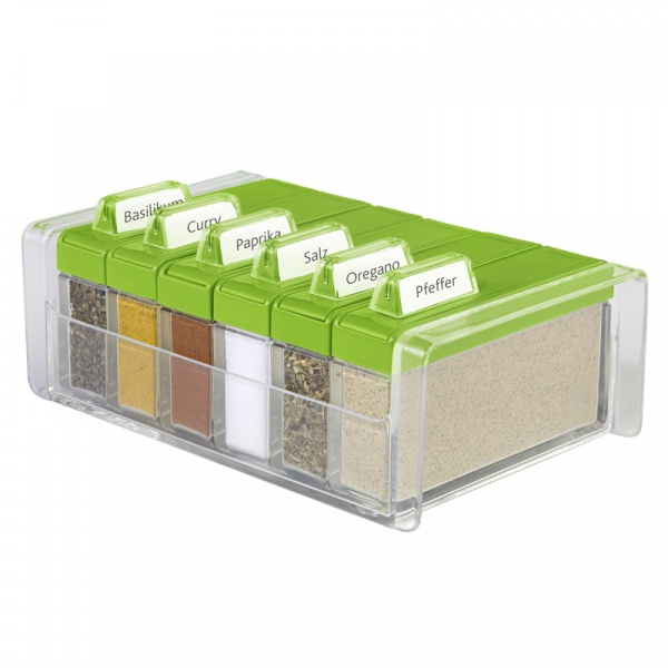 Pudełko na przyprawy + 6 pojemników EMSA Spice Box zielone EM-508458