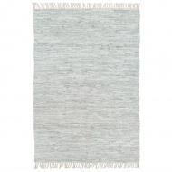 Ręcznie tkany dywanik Chindi, skóra, 160x230 cm, jasnoszary