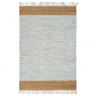 Ręcznie tkany dywanik Chindi, skóra, 80x160 cm, szaro-brązowy