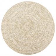 Ręcznie wykonany dywan, juta, biały i naturalny, 120 cm