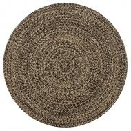 Ręcznie wykonany dywan, juta, czarny i naturalny, 120 cm