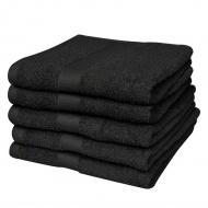 Ręczniki, 5 szt., bawełna, 500 g/m², 50x100 cm, czarne