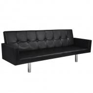 Rozkładana kanapa z podłokietnikami, sztuczna skóra, czarna