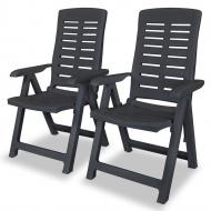 Rozkładane krzesła ogrodowe, 2 szt., plastikowe, antracytowe
